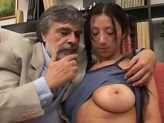 Old man fucking 18 years girl with big beautiful natural tits brunette