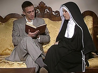 Shy Nun gets her ass fucked and face spermed hardcore